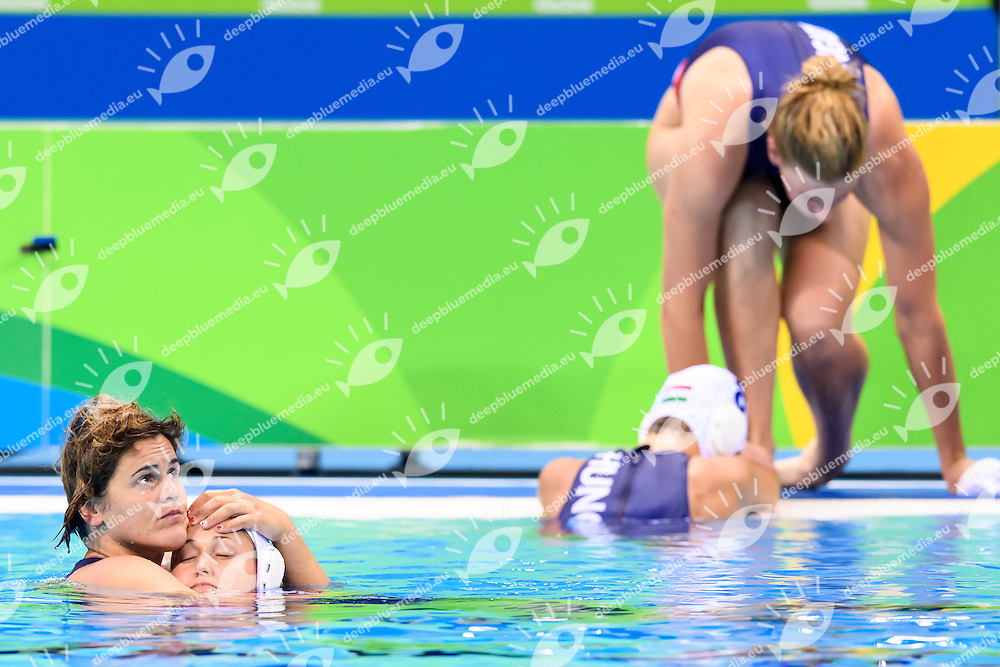Hungarian players dejected after losing the bronze medal match <br /> Rio de Janeiro 19-08-2016 Olympic Aquatics Stadium  - Water Polo <br /> HUNGARY HUN - RUSSIA RUS Final 3th 4th place <br /> Foto Andrea Staccioli/Deepbluemedia/Insidefoto