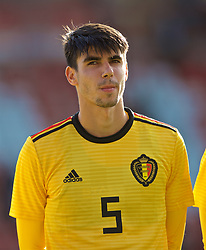 WREXHAM, WALES - Friday, September 6, 2019: Belgium's Thibault De Smet lines-up before the UEFA Under-21 Championship Italy 2019 Qualifying Group 9 match between Wales and Belgium at the Racecourse Ground. (Pic by Laura Malkin/Propaganda)