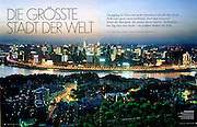 "Tearsheet from features and assignments done in China..Vanity Fair Germany , Chongqing ""Die Grosste Stadt der World"" .Page 1/2..© Daniele Mattioli / Anzenberger"