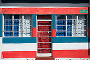 Mauritius. Red white and Blue House, Mahebourg.
