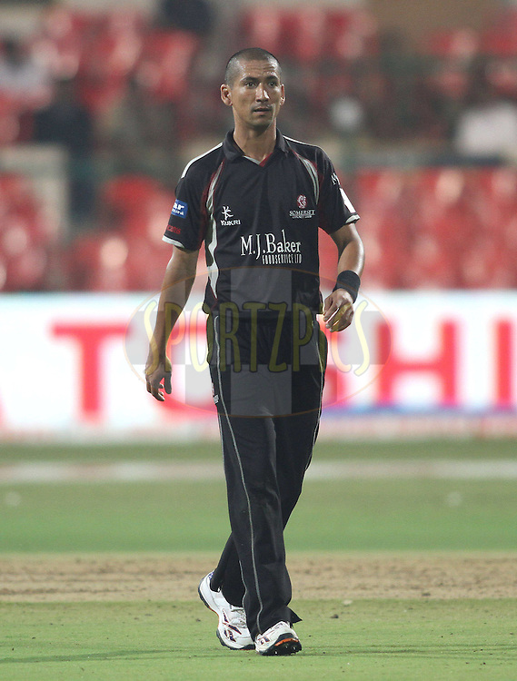 Somerset captain Alfonso Thomas during match 16 of the NOKIA Champions League T20 ( CLT20 ) between the Royal Challengers Bangalore and Somerset held at the  M.Chinnaswamy Stadium in Bangalore , Karnataka, India on the 3rd October 2011..Photo by Shaun Roy/BCCI/SPORTZPICS