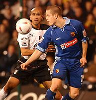 Fotball<br /> England 2004/22005<br /> Foto: SBI/Digitalsport<br /> NORWAY ONLY<br /> <br /> Fulham v Watford<br /> 19/1/2005.<br /> FA Cup Third Round Replay.<br /> <br /> Fulham's Zesh Rehman and Watford's Heidar Helguson