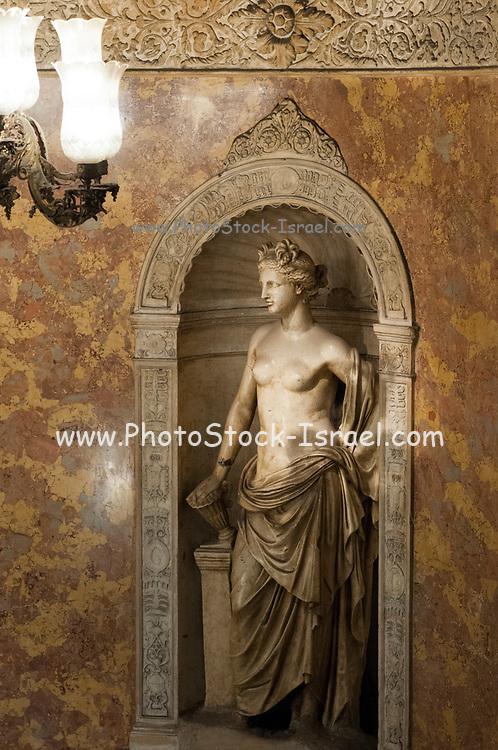Classic Greek statue in the interior of Palacio de Gaviria (Gaviria Palace) in calle arenal, madrid, spain