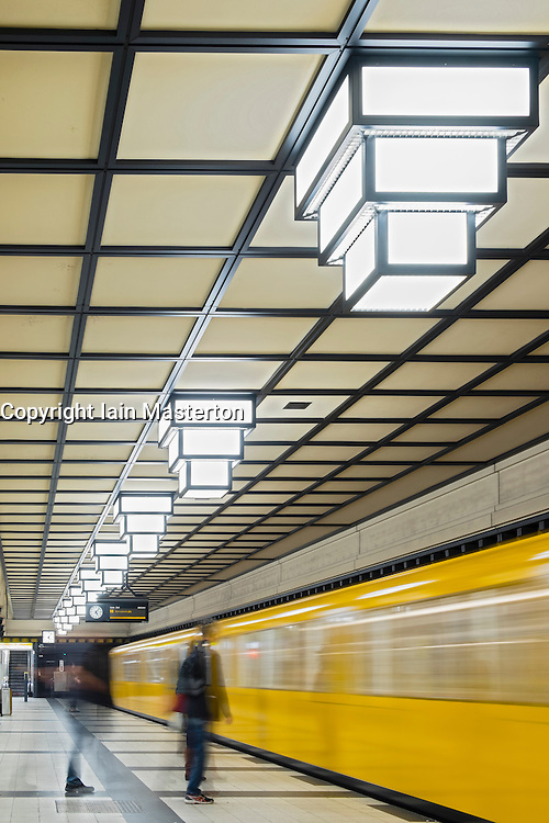 Subway train at Paracelsus-Bad station on Berlin subway U-Bahn system in Germany