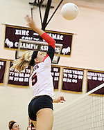 Maquoketa's Allison Vandemore (5) goes up for a kill during the WaMaC Tournament semifinal game at Mount Vernon High School in Mount Vernon on Thursday October 11, 2012. Maquoketa defeated Dyersville Beckman 25-16, 25-20.