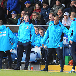 TELFORD COPYRIGHT MIKE SHERIDAN 16/2/2019 - Gavin Cowan and Stockport boss Jim Gannon trade words as tempers boil over during the Vanarama Conference North fixture between Stockport County and AFC Telford United at Edgeley Park