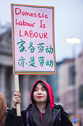© Licensed to London News Pictures. 08/03/2019. LONDON, UK.  Participants take part in a Women's Strike outside the Royal Exchange next to the Bank of England.  Taking place on International Women's Day, the strike calls for improvements and support of women's rights. Photo credit: Stephen Chung/LNP