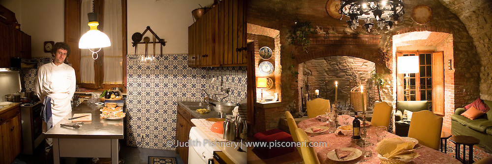 Luigi prepares dinner . La Rocca Buitoni, Paciano, Italy