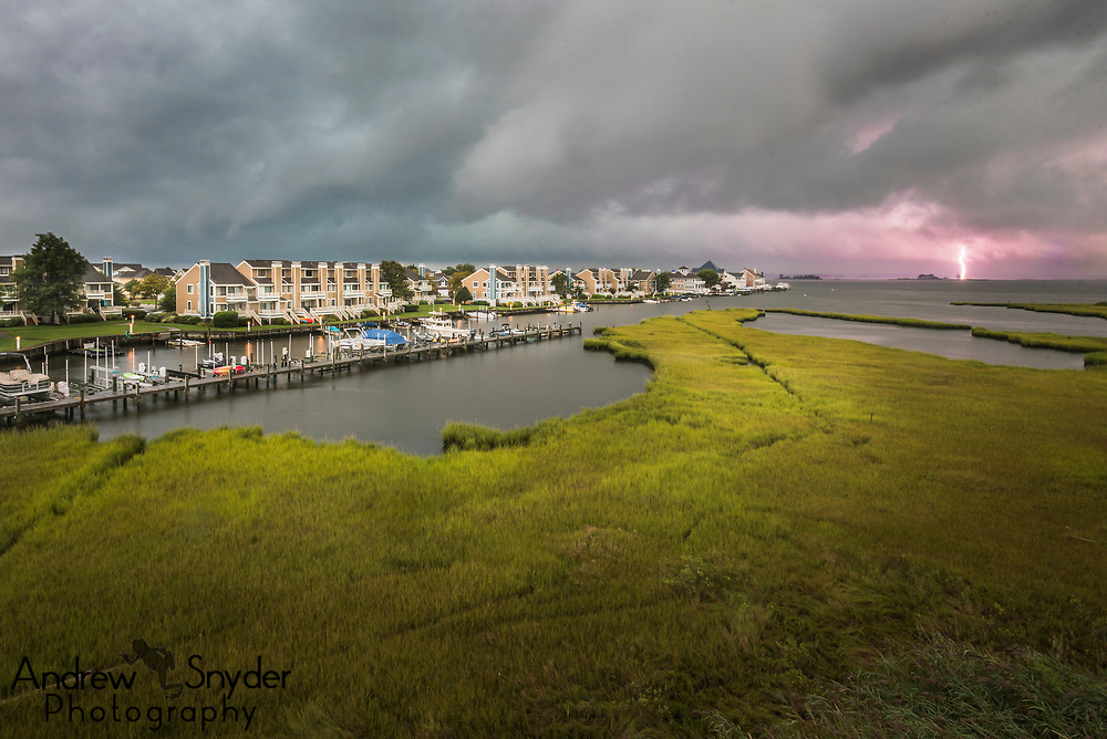 A bolt of lightning signals the incoming storm - Ocean City, Maryland
