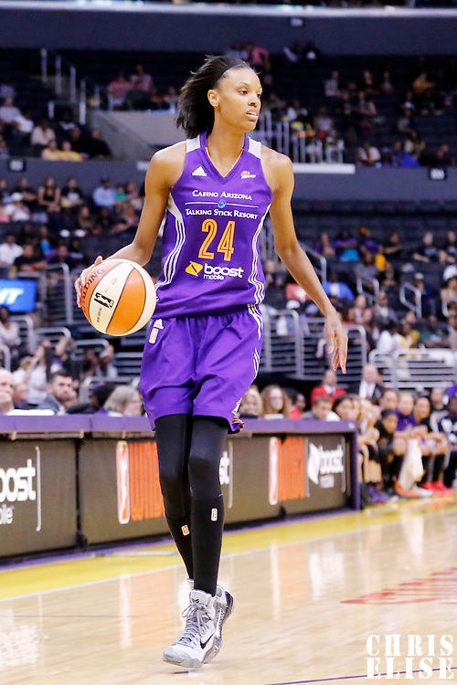 18 May 2014: Phoenix Mercury guard/forward DeWanna Bonner (24) dribbles during the Phoenix Mercury 74-69 victory over the Los Angeles Sparks, at the Staples Center, Los Angeles, California, USA.