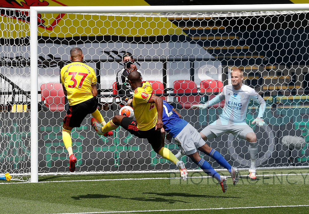 Abdoulaye Doucoure of Watford just fails to get on the end of a cross  during the Premier League match at Vicarage Road, Watford. Picture date: 20th June 2020. Picture credit should read: Darren Staples/Sportimage