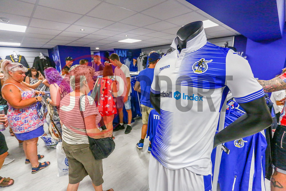 The new club shop is busy during it's launch - Ryan Hiscott/JMP - 19/07/2018 - FOOTBALL - Memorial Stadium - Bristol, England - Bristol Rovers Open Day