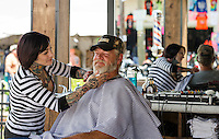 Flo's Chop Shop at Progressive Insurance and Bike Week 2015 Lakeside Avenue Weirs Beach, NH.  Karen Bobotas for the Laconia Daily Sun