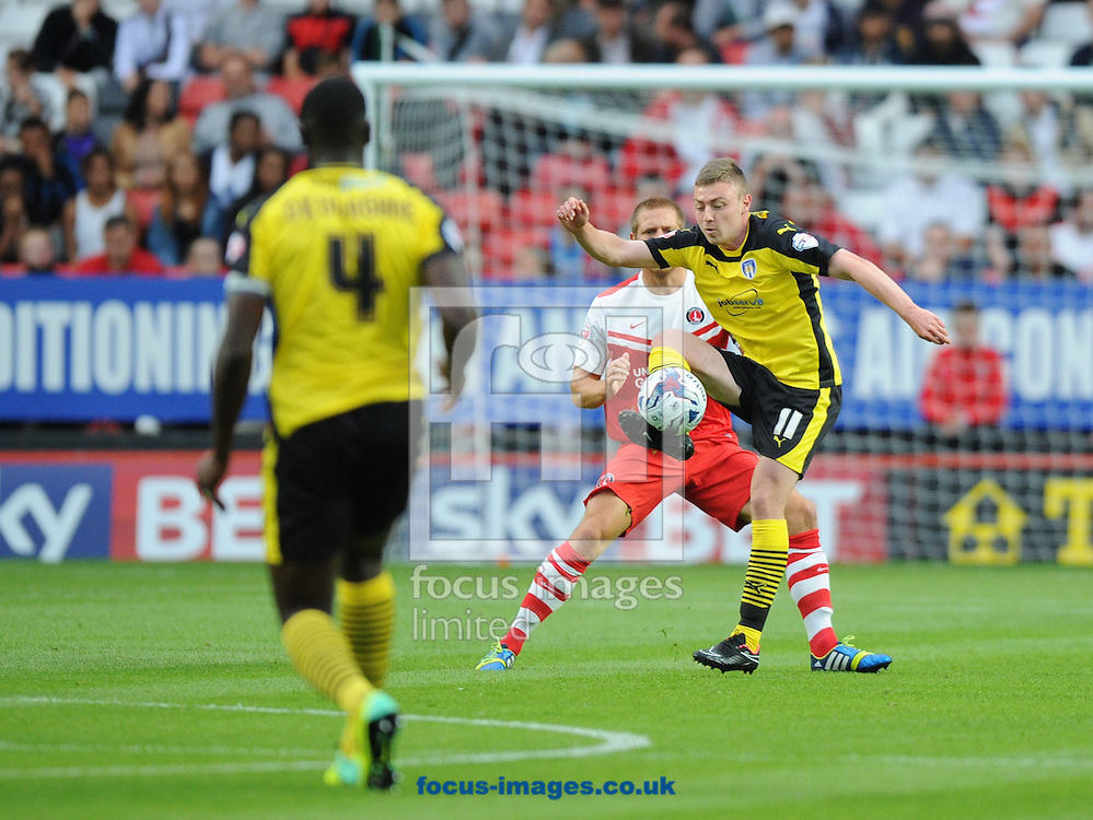 Freddie Sears of Colchester United during the Capital One Cup match at The Valley, London<br /> Picture by Alan Stanford/Focus Images Ltd +44 7915 056117<br /> 12/08/2014