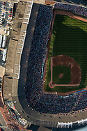 An aerial view from directly above Wrigley Field taken during a game against the St. Louis Cardinals. This image was taken as part of an assignment for a 100 year anniversary book on Wrigley Field for Major League Baseball.