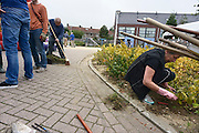 Nederland, Nijmegen, 22-9-2013Burendag in de Enkstraat. Het openbare groen wordt van onkruid gewied en de straat schoongemaakt.Foto: Flip Franssen/Hollandse Hoogte