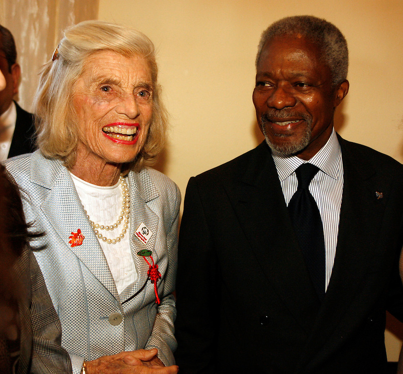 U.N. Secretary-General Kofi Annan and Eunice Kennedy Shriver at a special event to promote the 2007 Special Olympics World Summer Games in Shanghai at U.N. Headquarters in New York on Thursday 10 November 2006.<br />