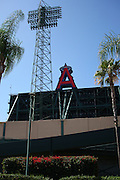 ANAHEIM, CA - JULY 05:  General view of the stadium exterior, palm trees, and the Big A prior to the Los Angeles Angels of Anaheim game against the Baltimore Orioles at Angel Stadium on Sunday, July 5, 2009 in Anaheim, California.  The Angels defeated the Orioles 9-6.  (Photo by Paul Spinelli/MLB Photos via Getty Images)