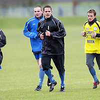 St Johnstone Training...19.03.04<br />Paul Bernard training in the rain with Jamie McQuilken, Ryan Stevenson and Simon Donnelly during a competition during training before tommorrow's crunch game v Clyde.<br />see story by Gordon Bannerman Tel: 01738 553978 or 07729 865788<br />Picture by Graeme Hart.<br />Copyright Perthshire Picture Agency<br />Tel: 01738 623350  Mobile: 07990 594431