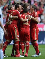 FUSSBALL   1. BUNDESLIGA  SAISON 2012/2013   3. Spieltag FC Bayern Muenchen - FSV Mainz 05     15.09.2012 Mario Mandzukic, Xherdan Shaqiri  und Bastian Schweinsteiger  (v. li., FC Bayern Muenchen)