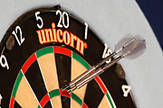 180, Daniel Larsson's darts in board, during the Darts World Championship 2018 at Alexandra Palace, London, United Kingdom on 18 December 2018.