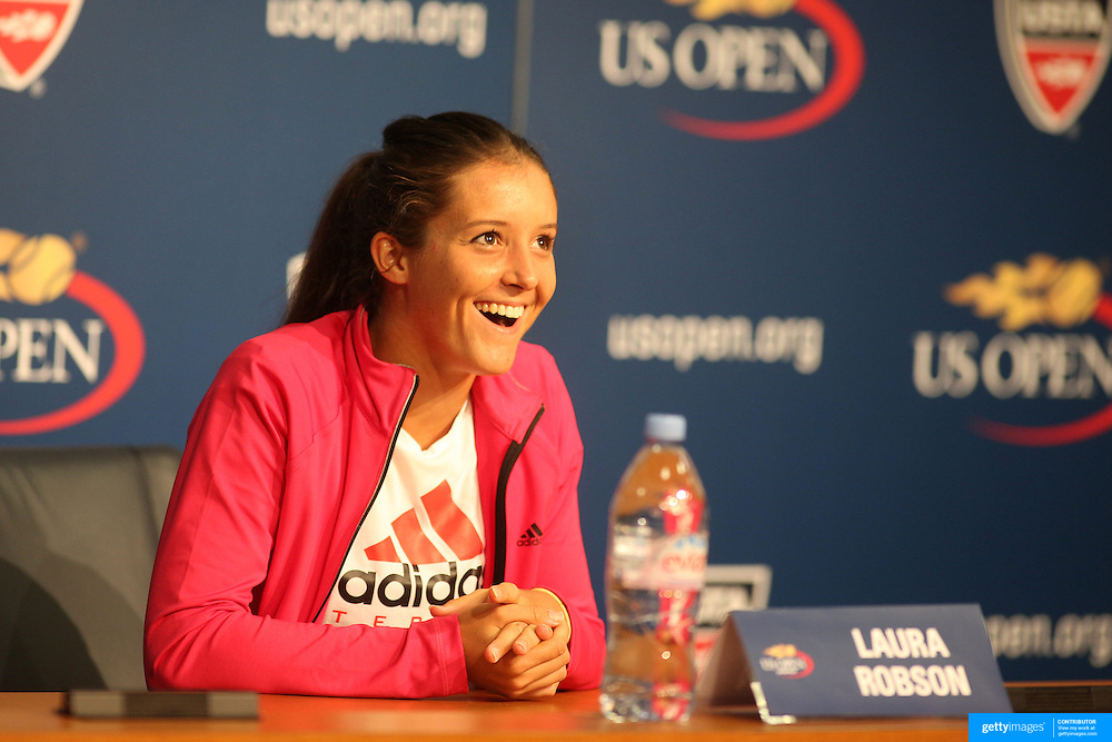 Laura Robson, Great Britain, during her press conference after her victory  against Na Li, China, during the US Open Tennis Tournament, Flushing, New York. USA. 31st August 2012. Photo Tim Clayton
