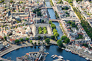 Nederland, Noord-Holland, Haarlem, 01-08-2016; centrum Haarlem, met Spaarne, Papentorenvest met Molen De Adriaan. Zicht op Nieuwe Gracht.<br /> City centre Haarlem.<br /> luchtfoto (toeslag op standard tarieven);<br /> aerial photo (additional fee required);<br /> copyright foto/photo Siebe Swart