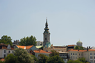 The Orthodox Cathedral and skyline of the old town in Belgrade, Serbia