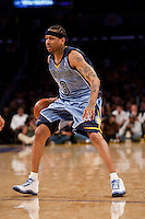 06 November 2009: Guard Allen Iverson of the Memphis Grizzles dribbles the ball up the court against the Los Angeles Lakers during the first half of the Lakers 114-98 victory over the Grizzles at the STAPLES Center in Los Angeles, CA.