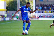 Wimbledon forward Jake Jervis (10), on loan from Luton Town, crosses the ball in during the EFL Sky Bet League 1 match between Burton Albion and AFC Wimbledon at the Pirelli Stadium, Burton upon Trent, England on 1 September 2018.