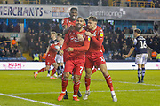 GOAL 1-1 Nottingham Forest forward Lewis Grabban (7) sores and celebrates during the EFL Sky Bet Championship match between Millwall and Nottingham Forest at The Den, London, England on 6 December 2019.