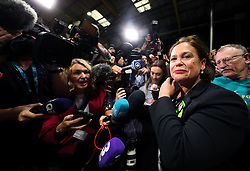 Sinn Fein leader Mary Lou McDonald arrives at the count centre in Dublin's RDS as votes are counted in the referendum on the 8th Amendment of the Irish Constitution which prohibits abortions unless a mother's life is in danger. Picture date: Saturday May 26, 2018. See PA story IRISH Abortion. Photo credit should read: Brian Lawless/PA Wire