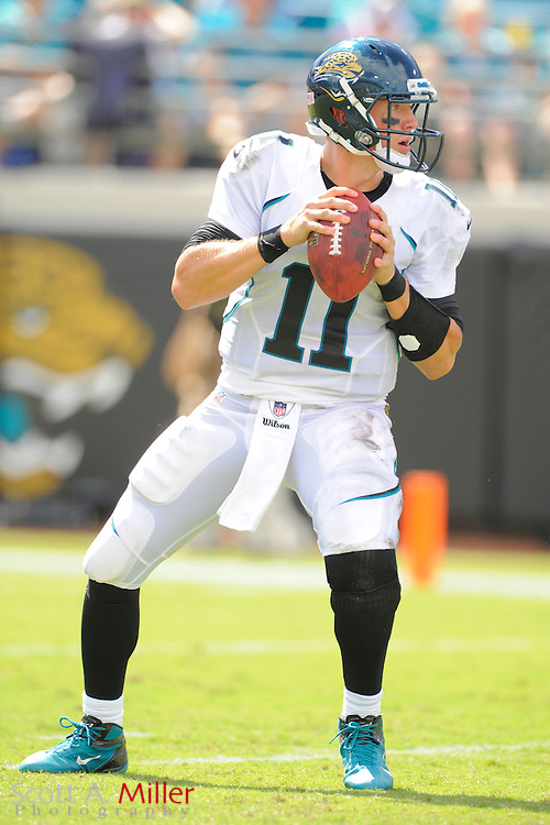 Jacksonville Jaguars quarterback Blaine Gabbert (11) looks to throw during the NFL game between the Jags and the Houston Texans at EverBank Field on September 16, 2012 in Jacksonville, Florida. The Texans won 27-7...©2012 Scott A. Miller.