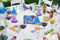 Elevated view of  table prepared for birthday party