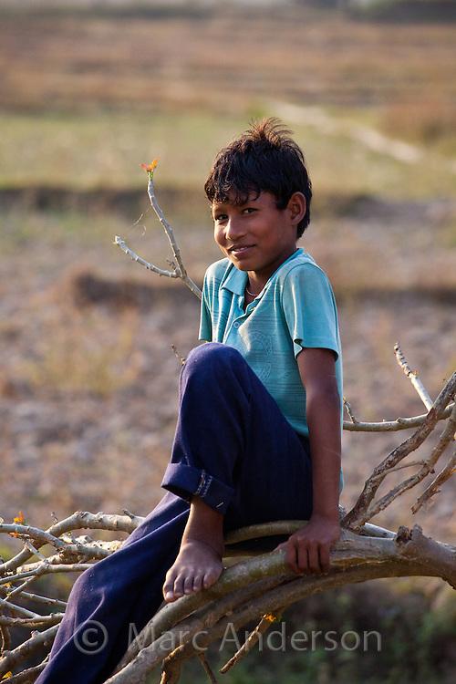 Nepalese boy smiling, Bardiya, Nepal