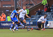 Nathaniel Mendez-Laing scores 1-0 during the Sky Bet League 1 match between Rochdale and Bury at Spotland, Rochdale, England on 12 March 2016. Photo by Daniel Youngs.