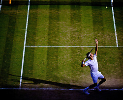 LONDON, ENGLAND - Friday, July 4, 2014: Roger Federer (SUI)  during the Gentlemen's Singles Semi-Final match on day eleven of the Wimbledon Lawn Tennis Championships at the All England Lawn Tennis and Croquet Club. (Pic by David Rawcliffe/Propaganda)