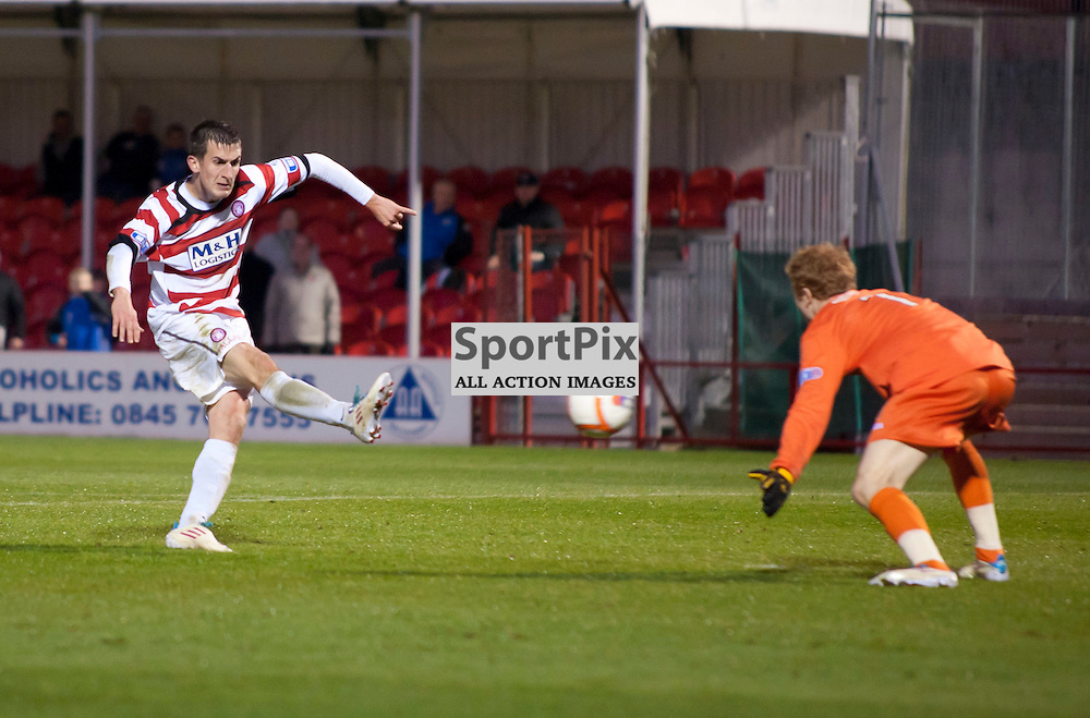 Hamiltons Grant Anderson fires home the winning goal late in the game,Hamilton Academical v Queen of the South