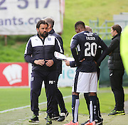 Dundee new boy Riccardo Calder gets instructions as he gets ready to make his debut as a substitute - Partick Thistle v Dundee, Ladbrokes Premiership at Firhill<br /> <br />  - &copy; David Young - www.davidyoungphoto.co.uk - email: davidyoungphoto@gmail.com