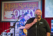 """Bryan Gowland, """"The voice of the Abita Springs Opry"""", makes his anncouncements at the Abita Springs Opry at Town Hall on October 15, 2016"""