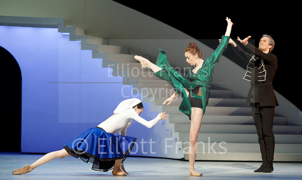 Bolshoi Ballet <br /> The Taming of the Shrew <br /> choreography by Jean-Christophe Maillot <br /> at The Royal Opera House, Covent Garden, London, Great Britain <br /> rehearsal of act 1<br /> 3rd August 2016 <br /> <br /> Ekaterina Krysanova as Katherina<br /> <br /> Olga Smirnova as Bianca <br /> <br /> Artemy Belyakov as Baptista <br /> <br /> <br /> Photograph by Elliott Franks <br /> Image licensed to Elliott Franks Photography Services