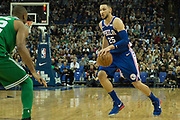 Philadelphia 76ers Ben Simmons (25) during the NBA London Game match between Philadelphia 76ers and Boston Celtics at the O2 Arena, London, United Kingdom on 11 January 2018. Photo by Martin Cole.