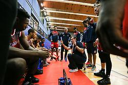 Bristol Flyers head coach Andreas Kapoulas<br />  gives his team talk - Photo mandatory by-line: Arron Gent/JMP - 28/09/2019 - BASKETBALL - Crystal Palace National Sports Centre - London, England - London City Royals v Bristol Flyers - British Basketball League Cup