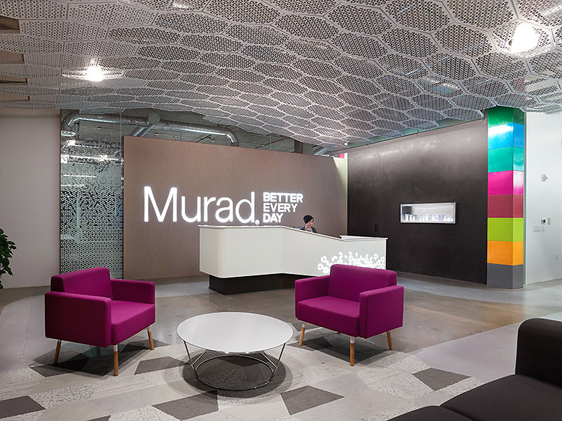 Shubin + Donaldson Architects uses Ceilings Plus Illusions® with custom patterns and perforation solutions to create an iconic ceiling element that represents the science of Dr. Murad's Inclusive Health approach: Look Better, Feel Better.