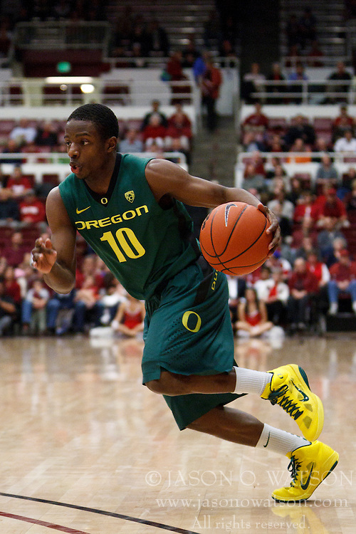 January 27, 2011; Stanford, CA, USA;  Oregon Ducks guard Johnathan Loyd (10) dribbles the ball against the Stanford Cardinal during the first half at Maples Pavilion.  Oregon defeated Stanford 67-59.