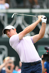 May 3, 2019 - Charlotte, NC, U.S. - CHARLOTTE, NC - MAY 03: Rory Mcllrot plays his shot from the 17th tee in round two of the Wells Fargo Championship on May 03, 2019 at Quail Hollow Club in Charlotte,NC. (Photo by Dannie Walls/Icon Sportswire) (Credit Image: © Dannie Walls/Icon SMI via ZUMA Press)