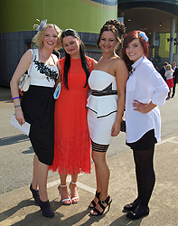 LIVERPOOL, ENGLAND - Thursday, April 9, 2015: Rachel, Louise, Dawn and Kathryn from Widnes during Grand Opening Day on Day One of the Aintree Grand National Festival at Aintree Racecourse. (Pic by David Rawcliffe/Propaganda)