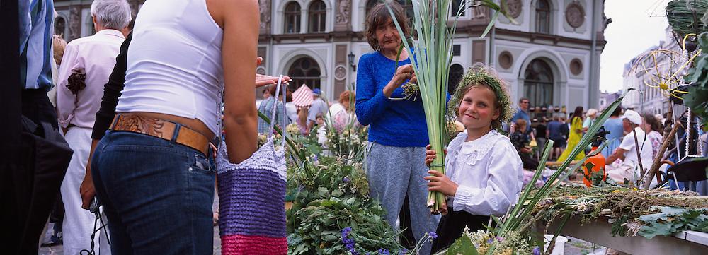 Flower sellers in Riga before Ligo (Herbs Day), Latvia