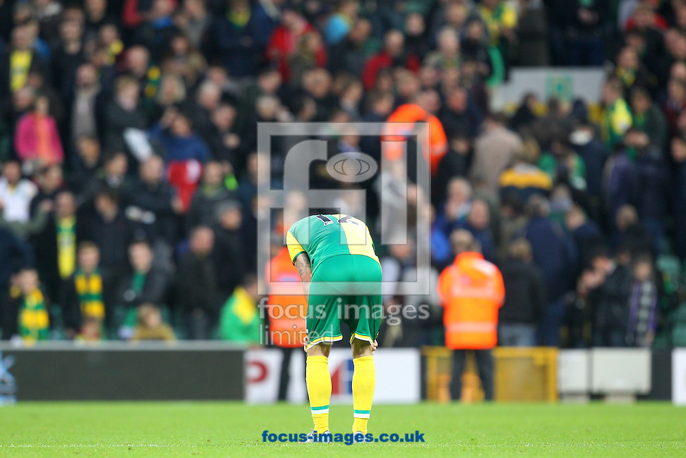 Robbie Brady of Norwich looks dejected at the end of the Barclays Premier League match at Carrow Road, Norwich<br /> Picture by Paul Chesterton/Focus Images Ltd +44 7904 640267<br /> 24/10/2015
