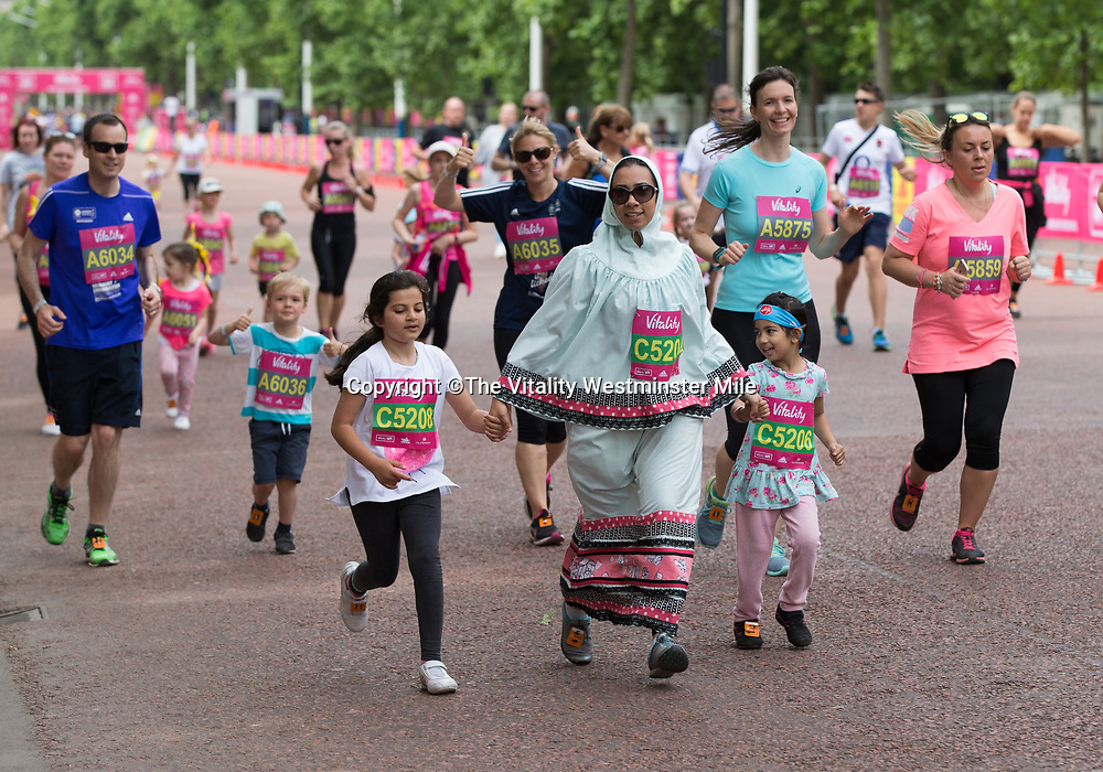 Runners taking part in The Vitality Westminster Mile, Sunday 28th May 2017.<br /> <br /> Photo: Ben Queenborough for The Vitality Westminster Mile<br /> <br /> For further information: media@londonmarathonevents.co.uk
